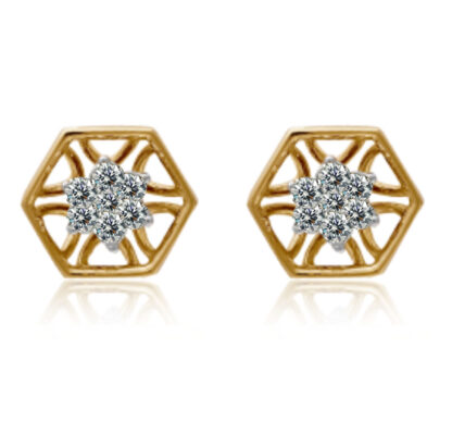 Octagon Shape Diamond Earrings