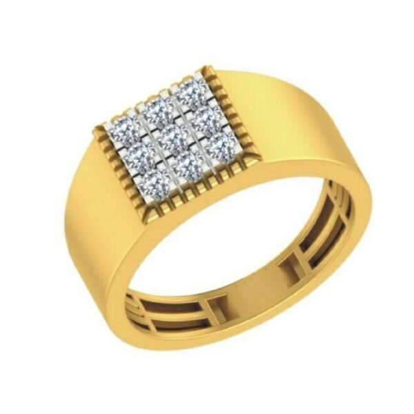 Nine Diamond Plane Gold Ring Men