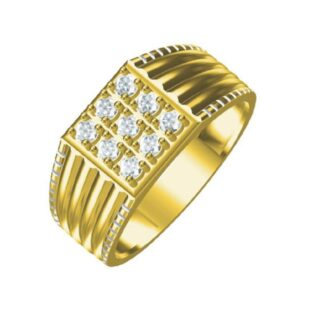 Nine Diamond Fishtail Setting Ring Men
