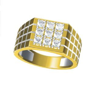 Nine Diamonds Fishtail Ring Men Solid