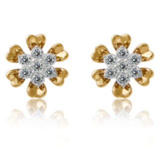 Flower Prickle Diamond Earrings