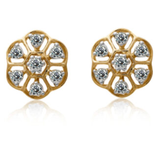 Wave Round Diamond Earrings